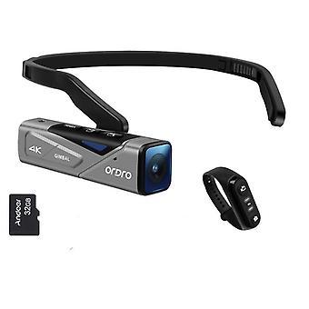 رئيس يمكن ارتداؤها 4k 60fps كاميرا فيديو حر اليدين التطبيق التركيز التلقائي المدمج في 2 محور