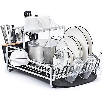 Kingrack Dish Drying Rack, Aluminum Dish Drainer 2 Tier with Draining Board, Drip Tray,Top Shelf