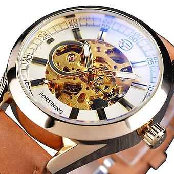 Forsining Blue Light Glass Wrist Watch Leather Military Automatic