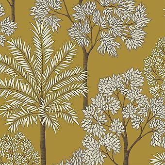 City of Palms Ochre Wallpaper