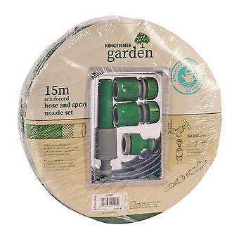 Kingfisher 415SNS 15 m Hose and Spray Nozzle Set - Green