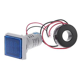 Mini Carré L-E-D Digital Voltmeter Ammeter Signal Light Voltage Meter Indicator AC 60-500V 0-100A