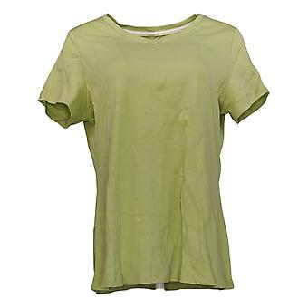Isaac Mizrahi Live! Women's Top Cotton V Neck Short Sleeve Tee Green