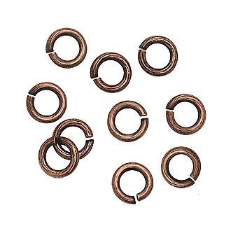 Nunn Design Jump Ring, Écorce Texturée Ouverte 16 Calibre, 6.5mm, 10 Pièces, Cuivre Antiqued
