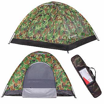 Tente de camping 2 personnes 200x150 cm – Camouflage – Tente de base avec moustiquaire