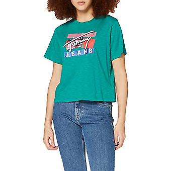 Tommy Jeans Tjw Signature Logo Tee Shirt, Midwest Green, M Woman