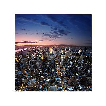 Wykres zachodu słońca na Manhattanie