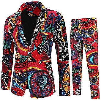 3Xl red mens 2 peça entalhada lapela floral 1 botão slim fit terno de tweed de baile x2363