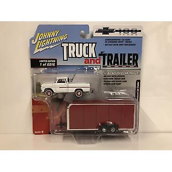 1965 Chevy Pickup with Enclosed Car Trailer 1:64 Scale Johnny Lightning JLBT007B