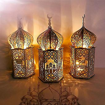 Wooden Eid Desktop Decoration Mubarak Muslim Wood Crafts Warm Lights Lantern Ornaments For Eid