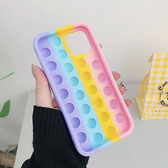 Fashion Rainbow Bubble Silicone Phone Case For Iphone 7 8 Plus X Xr Xs 11 12 Pro Max Cover Reliver Stress Fidget Toy