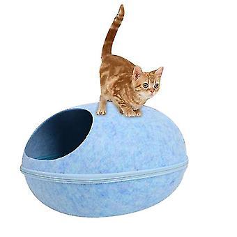 Katzenstreu geschlossen Abnehmbare und waschbare kreative Eierschalenstreu atmungsaktiv (blau)