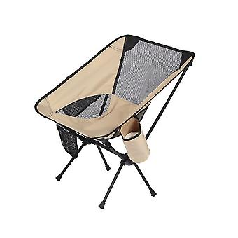 Premium Beige Outdoor Camping Folding Chairs Daddy Ultralight Gardren Furniture Relaxing Chair Fishing Supplies with Pocket