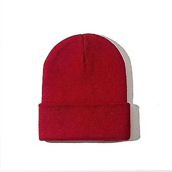 Lämmin neulottu fluoresoiva beanies hattu naiselle (viini)