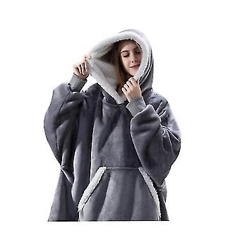 Women's Thick Pajamas Wearable Lamb Velvet Lazy Blanket Home Casual Plush Sweater With Hood(Grey)