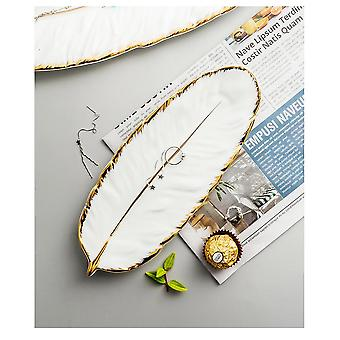 Tray Nordic Style Creative Ceramic Tray Fruit Cake Tableware Plate Jewelry Cosmetic Sundries(white)