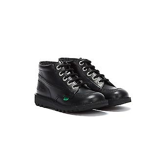 كيكرز ركلة مرحبا أحذية جلدية سوداء الأطفال الصغار