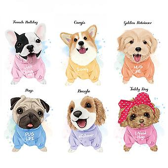 Cute Dogs Wall Sticker Home Decal (size: 86cm X 76cm)