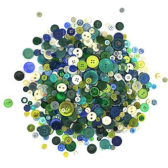 LAST FEW - 500g Assorted Cool Colour Buttons for Arts & Crafts
