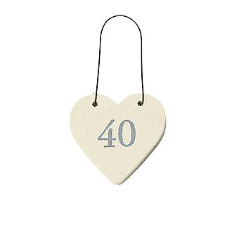 40 Mini Wooden Hanging Heart for 40th Birthday - Cracker Filler Gift