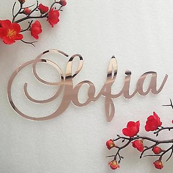 Custom mirror rose gold baby name sign nursery wall decoration personalized wood name sign rustic wedding party baptism