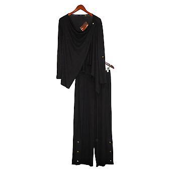 IMAN Global Chic Petite Convertible Cardigan And Pant Set Black 746048