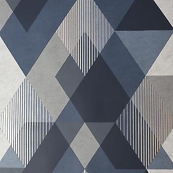 Decadence Diamond Geometric Navy Gold Wallpaper