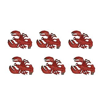 Set of 6 Distressed Finish Red / Black Cast Iron Lobster Drawer Pulls