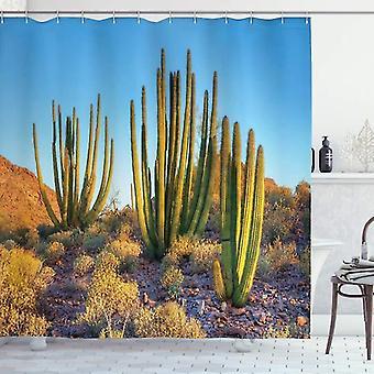Cactus Shower Curtain, Photo Of Mountain Cactus, Fabric Bathroom Decoration Set With Hook, Multicolor 120x180cm
