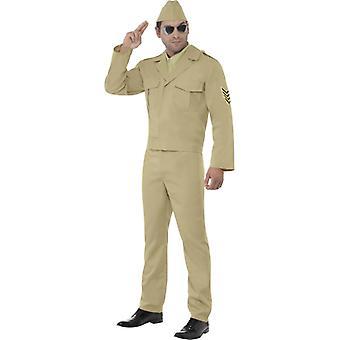 Officer GI Army Retro costume men's 2nd World War uniform beige