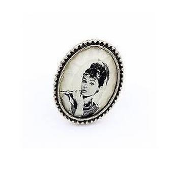Beautiful Vintage Audrey Hepburn Photo Portrait Smoke Cameo Ring Adjustable Rings