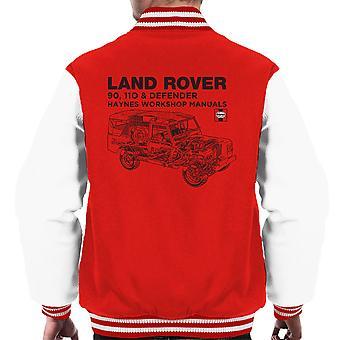 Haynes ägare Workshop Manual Land Rover Defender svart mäns Varsity Jacket