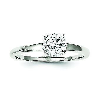 925 Sterling Silber solid Solitaire Runde CZ Zirkonia simuliert Diamant Ring Schmuck Geschenke für Frauen - Ring Größe: