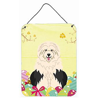 Pasen eieren Old English Sheepdog muur of deur hangen Prints