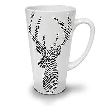 Deer Finger Print Animal NEW White Tea Coffee Ceramic Latte Mug 12 oz | Wellcoda