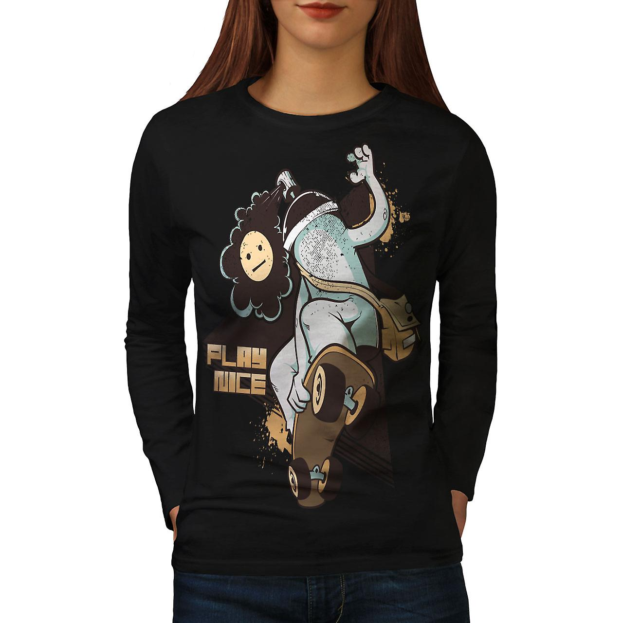 b365631170cb Spela fin Skate mode kvinnor BlackLong Långärmad T-shirt | Wellcoda ...