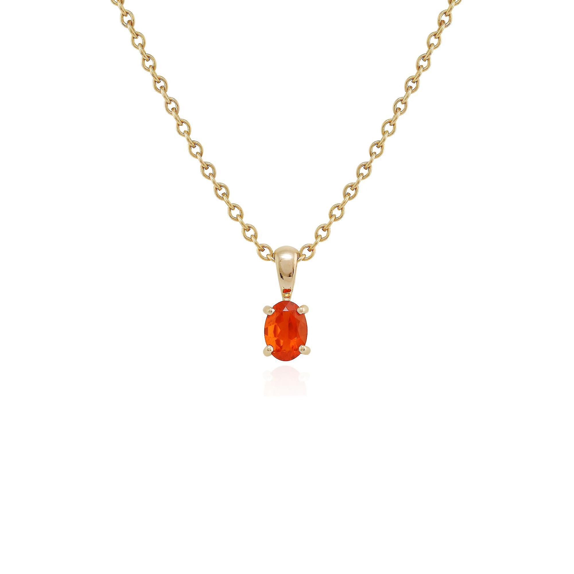 Gemondo 9ct Yellow Gold Fire Opal Single Stone 45cm Necklace