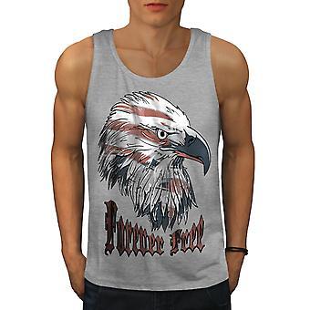 America Eagle Free USA Men GreyTank Top | Wellcoda