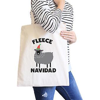 Fleece Navidad luonnollinen kangas Tote söpö teini tyttö lahjat