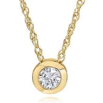 14K Gelbgold 1/4 ct Runde Diamant Solitär Lünette Anhänger Halskette 18