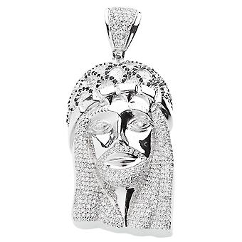 925 iced out sterling silver pendant - HOLY JESUS black