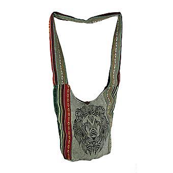 Tête de Lion tribale sac bandoulière de Boho Stripe coton