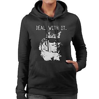 Kat zonnebril omgaan met het vrouwen Hooded Sweatshirt