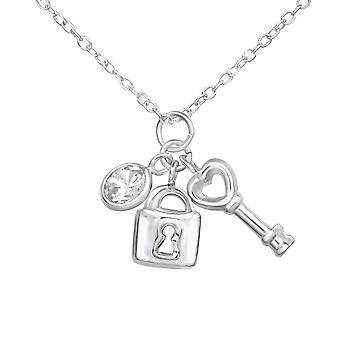 Key And Padlock Charm - 925 Sterling Silver Jewelled Necklaces - W34901X