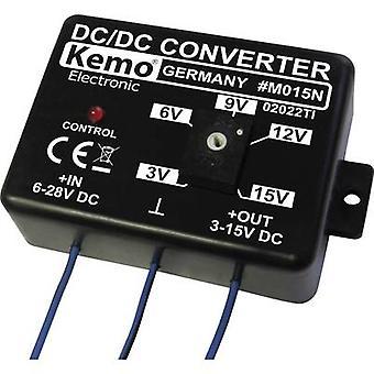 Kemo Voltage transformer Component Input voltage (range): 6 - 28 V DC Output voltage (range): 3 - 15 V DC