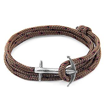 Anchor & Crew Brown Admiral Anchor Silver and Rope Bracelet