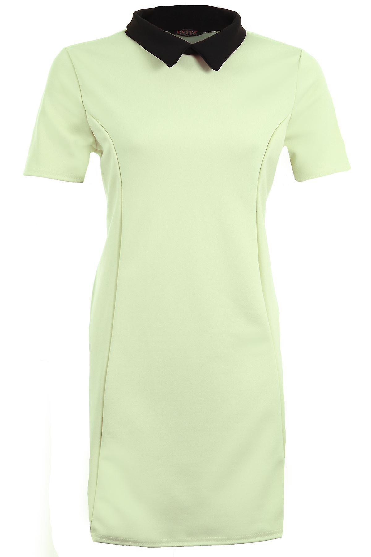 Ladies Short Sleeve Plain Peter Pan Collar Contrast Bodycon Plus Women's Dress