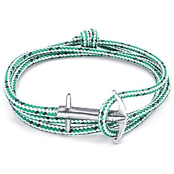 Anchor and Crew Admiral Silver and Rope Bracelet - Green Dash