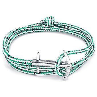 Anker und Crew Admiral Silber und Seil Armband - grüner Strich