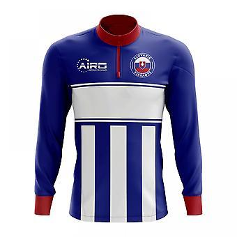 Slovakia käsite jalkapallo puoli Lämmin Powerstretch-paita vetoketjukauluksella (sini-valkoinen)